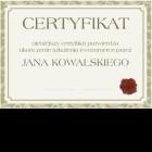 Certyfikat uniwersalny - A4 poziom (wzór 3)